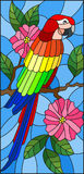 Stained glass illustration with a beautiful  parakeet sitting on a branch of a blossoming tree on a background of leaves and sky Royalty Free Stock Photography