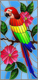 Stained glass illustration with a beautiful parakeet sitting on a branch of a blossoming tree on a background of leaves and sky. Illustration in the style of Stock Illustration