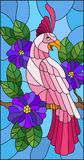 Stained glass illustration with a beautiful pink parakeet sitting on a branch of a blossoming tree on a background of leaves and. Illustration in the style of vector illustration