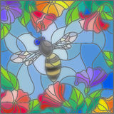 Stained glass illustration with bees against the sky and blooming flowers. Illustration in stained glass style with bright bee against the sky, foliage and Royalty Free Stock Photos
