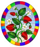 Illustration inStained glass style with berries, leaves and strawberry flowers on sky background , oval picture in bright frame stock illustration