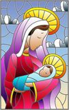 Stained glass illustration on biblical theme, Jesus baby with Mary , abstract figures on sky background with clouds, rectangular. Illustration in stained glass vector illustration