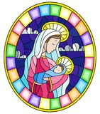 Stained glass illustration on biblical theme, Jesus baby with Mary , abstract figures on sky background with clouds, round image i. Illustration in stained glass vector illustration