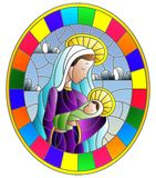 Stained glass illustration on biblical theme, Jesus baby with Mary , abstract figures on sky background with clouds, round image. Illustration in stained glass royalty free illustration