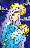 Stained glass illustration on biblical theme, Jesus baby with Mary , abstract figures on starry sky background with clouds, rectan. Illustration in stained glass vector illustration