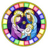 Stained glass illustration on biblical theme, Jesus baby with Mary and Joseph, abstract figures on blue background, round image in. Illustration in stained glass royalty free illustration