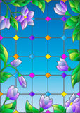 Stained glass illustration with blue flowers, imitation stained glass Windows. Illustration in stained glass style with abstract lilac flowers against the sky Stock Photo