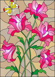 Stained glass illustration with a bouquet of pink poppies and a butterfly on the brown background Royalty Free Stock Images