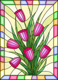 Stained glass illustration  with a bouquet of pink tulips on a yellow background with bright frame. Illustration in stained glass style with a bouquet of pink Stock Photography