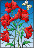 Stained glass illustration with a bouquet of red poppies and a butterfly on the background of blue sky Royalty Free Stock Photo
