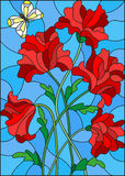 Stained glass illustration  with a bouquet of red poppies and a butterfly on the background of blue sky. Illustration in stained glass style with a bouquet of Royalty Free Stock Images