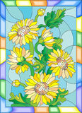 Stained glass illustration with a bouquet of sunflowers in a bright frame. Illustration in stained glass style with flowers, buds and leaves of sunflowers Royalty Free Stock Photo