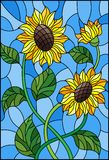 Stained glass illustration with a bouquet of sunflowers, flowers,buds and leaves of the flower on blue background. Illustration in stained glass style with a Royalty Free Stock Photos