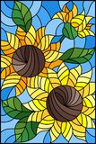 Stained glass illustration with a bouquet of sunflowers, flowers,buds and leaves of the flower on blue background. Illustration in stained glass style with a royalty free illustration