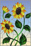 Stained glass illustration  with a bouquet of sunflowers, flowers,buds and leaves of the flower on blue background. Illustration in stained glass style with a Stock Photo