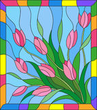 Stained glass illustration with a bouquet of tulipson a blue background in the frame Stock Image