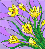 Stained glass illustration  with bouquet of  yellow crocuses  on a purple background Royalty Free Stock Photography