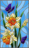Stained glass illustration with a bouquet of yellow daffodils and blue butterflies on a blue background. Illustration in stained glass style with a bouquet of Stock Image