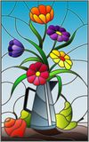 Stained glass illustration  with bouquets of bright flowers in a metal jug, pears and apples on table on blue background. Illustration in stained glass style Royalty Free Stock Image