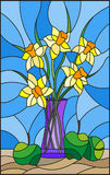 Stained glass illustration  with bouquets of Narcissus flowers in a blue vase Royalty Free Stock Image