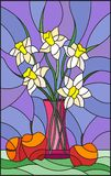 Stained glass illustration  with bouquets of Narcissus flowers in a pink vase and apples on table on purple background Stock Photography