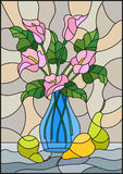 Stained glass illustration with bouquets of pink Calla lilies flowers in a blue vase and pears on table on beige background. Illustration in stained glass style Stock Images