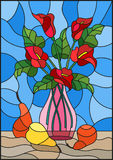 Stained glass illustration  with bouquets of red Calla lilies flowers in a pink vase and pears on table on blue background. Illustration in stained glass style Royalty Free Stock Photos