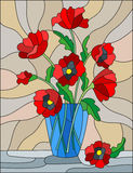 Stained glass illustration with bouquets of red poppies flowers in a blue vase on table on beige background Stock Images