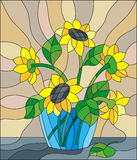 Stained glass illustration  with bouquets of sunflowers in a blue vase on table on beige background Royalty Free Stock Photos
