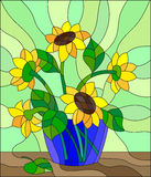Stained glass illustration with bouquets of sunflowers in a blue vase on table on green background Stock Image