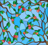Stained glass illustration with the branches of Apple trees , the fruit branches and leaves against the sky. Illustration in the style of a stained glass window Royalty Free Stock Image