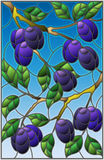 Stained glass illustration with the branches of plum tree , the branches. Illustration in the style of a stained glass window with the branches of plum tree royalty free illustration