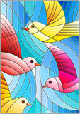 Stained glass illustration  with bright abstract birds on a blue background Royalty Free Stock Photography