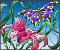Stained glass illustration with bright butterfly against the sky, foliage and flower of Lily Royalty Free Stock Images