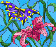Stained glass illustration  with bright butterfly against the sky, foliage and flower of Lily Stock Photo