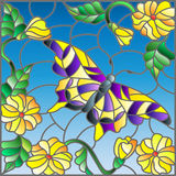 Stained glass illustration  with bright butterfly against the sky, foliage and flowers Royalty Free Stock Photography