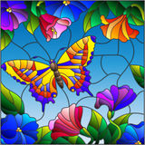 Stained glass illustration with bright butterfly against the sky, foliage and flowers Royalty Free Stock Image