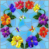 Stained glass illustration  with bright colored flowers in a circle and butterflies on a blue background Royalty Free Stock Photos