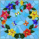 Stained glass illustration  with bright colored flowers in a circle and butterflies on a blue background Stock Photography
