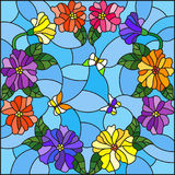 Stained glass illustration  with bright colored flowers in a circle and butterflies on a blue background Royalty Free Stock Photography