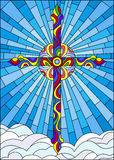 Stained glass illustration  with bright cross on a background of blue sky and clouds Royalty Free Stock Photography
