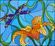 Stained glass illustration with bright dragonfly against the sky, foliage and flower of Lily Royalty Free Stock Images