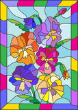 Stained glass illustration of bright flowers with pansies on a blue background in frame. Illustration in stained glass style with flowers, buds and leaves of Stock Photo