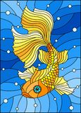Stained glass illustration with bright gold fish on the background of water and air bubbles. Illustration in stained glass style with bright gold fish on the Stock Photo