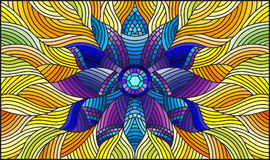 Stained glass illustration  with bright purple abstract flower on yellow wavy background Royalty Free Stock Photos