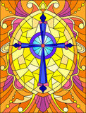 Stained glass illustration  with a bright  purple cross on a yellow background with patterns and swirls Royalty Free Stock Photo