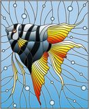 Stained glass illustration with bright scalar fish on the background of water and air bubbles royalty free illustration