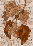 Stained glass illustration with a bunch of grapes and leaves ,brown tone, Sepia. The illustration in stained glass style painting with a bunch of grapes and Royalty Free Stock Photo
