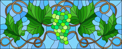 Stained glass illustration with a bunch of green grapes and leaves on blue background Royalty Free Stock Image