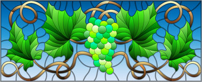 Stained glass illustration with a bunch of green grapes and leaves on blue background Stock Image